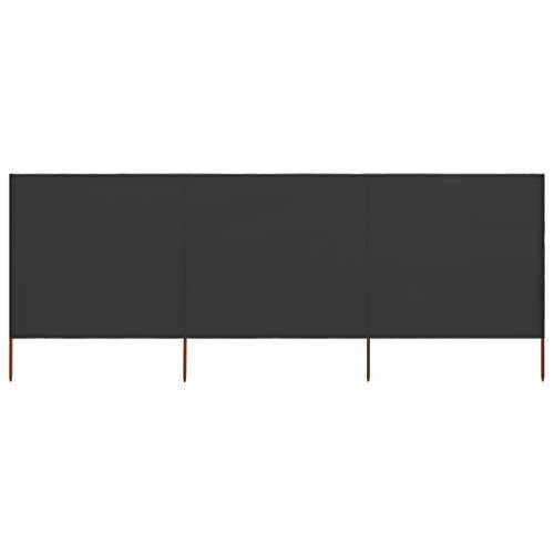 Tejido cortavientos de 3 piezas, 400 x 160 cm, color antracita