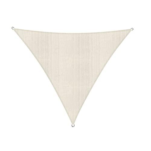 Lumaland Sonnensegel Dreieck 4 x 4 x 4 m - inkl. Befestigungsseile, Wetterbeständig, 100% HDPE mit UV Schutz - Sonennschutz, Schattenspender, Wetterschutz - Creme