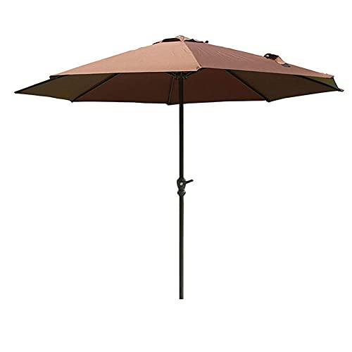 Riyyow Parasol Paraguas marrón Patio Paraguas Parasol, 2.7m Hierro Viento en el jardín Parasol, se Adapta a una Mesa Larga de jardín, Paraguas Resistente y de protección UV