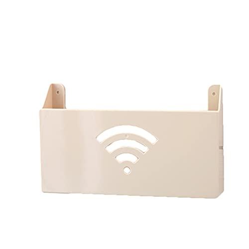 xinlianxin Caja de almacenamiento para enrutador Wifi Router Cajas de almacenamiento Cable Enchufe de Alimentación de Alambre Montado en la Pared Estante Organizador de Almacenamiento (Color: Beige)