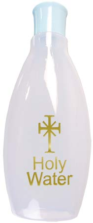 Cross My Heart 16 cm 290 ml Acqua Santa di Lourdes, bottiglia di plastica blu coperchio con illustrazione, biglietto di preghiera LOURDES e medaglia e una spilla in peltro da 2 cm