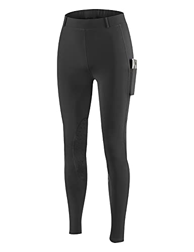 BALEAF Women's Fleece Lined Leggings Horse Riding Pants Winter Equestrian Breeches Silicone Knee Patch Pockets Black M