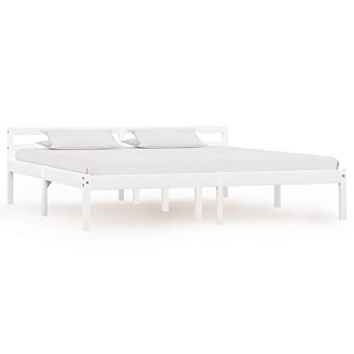 SKM Bed Frame White Solid Pine Wood 180x200 cm 6FT Super King-3189