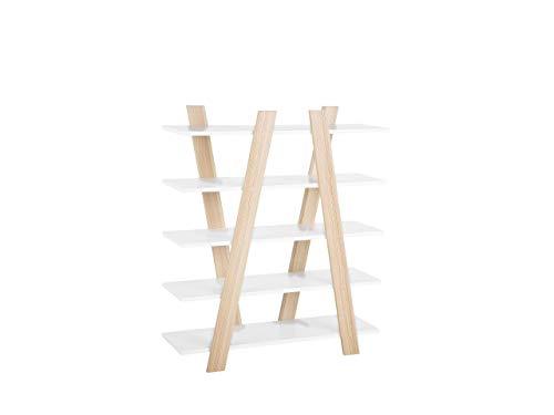 Preisvergleich Produktbild Beliani Modernes Regal skandinavischer Stil Heller Holzfarbton / weiß 5 Fächer Escalante
