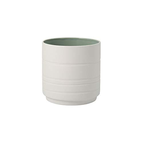 Villeroy & Boch - its my home Blumentopf Leaf mineral, formschöner Übertopf aus Premium Porzellan für Ihre grüne Oase, grün, weiß