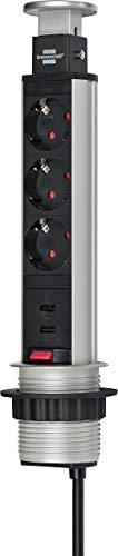 Brennenstuhl Tower Power regleta de enchufes de mesa de 3 tomas de corriente (conector USB, cable de 2m, retráctil en la mesa, montable) aluminio