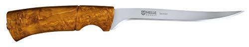 Helle 67515 Couteau à filet Manche bouleau Etui cuir marron avec passant ceinture