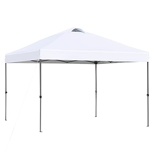 Outsunny 10' x 10' Pop Up Canopy Event Tent with Center Lift Hook Design, 3-Level Adjustable Height, Top Vent Window Design and Easy Move Roller Bag, White