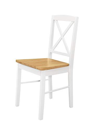 Duhome 2er Set Esszimmerstuhl aus Holz Küchenstuhl Weiß lackiert Retro Sitzfläche aus Massivholz mit Stoffbezug Polsterstuhl, Farbe:Natural - White, Material:Holz