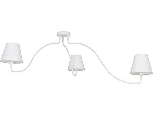 165 brede plafondlamp met witte stoffen kap 3x E14 tot 40W plafondlamp verlichting voor woonkamer slaapkamer