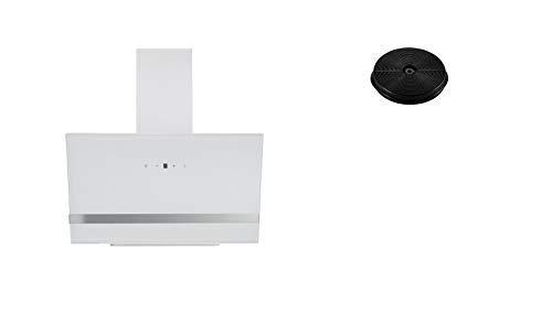 respekta Umluftset_CH24090WAM+MIZ1000 Dunstabzugshaube Schräghaube kopffrei weiß 90 cm + Aktivkohlefilter
