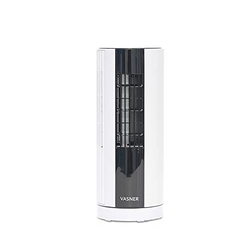 VASNER MilliFan Mini Turmventilator, leiser Ventilator mit 3 Stufen, Oszillation, Timer, Touch Panel, Tischventilator weiß schwarz