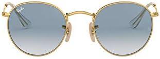 Ray-Ban occhiali da sole lente piana in sfumatura oro blu rotondi RB3447N 001/3F 50
