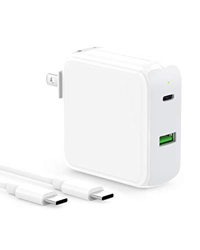 USB C Charger Compatible with MacBook Air 13 inch 2020/2019/2018, Laptop 12 inch, Pro 13, iPad Pro 12.9, 11, New Air 4, 48W 2 Port with 30W USBC Power Adapter, Type C, LED, 6.6ft C to C Charging Cord