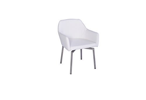KAWOLA Stuhl Loui Sessel Esszimmerstuhl Kunstleder schwarz, weiß, grau hellgrau (weiß)