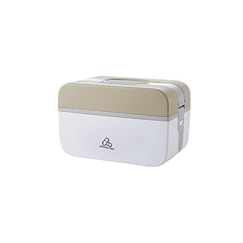 Aprimay Caja de primeros auxilios de 2 capas, con mango bloqueable para medicina de emergencia, caja de almacenamiento multifuncional para el hogar, oficina, primeros auxilios