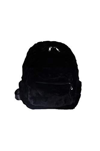 Ulisty Damen Herbst Winter Klein Kunstpelz Rucksack Plüsch Tagesrucksack Flauschige Schultertasche schwarz