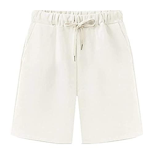 Gooket Women's Elastic Waist Soft Jersey Knit Bermuda Shorts with Drawstring White Tag L-US 2