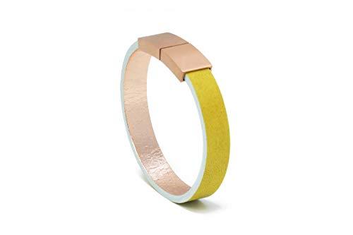 AIMI | LEATHERBAGS® - Premium Damen Lederarmband - handgefertigt im Schwarzwald | Magnetverschluss Edelstahl 18K vergoldet | inkl. edler Schmuckbox (zitrone, 20)