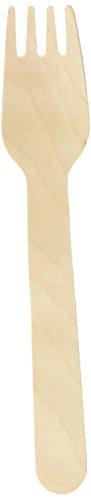 Snner Birchwood Disposable Forks - Pack of 100 Wooden Forks, Biodegradable Forks-Brown