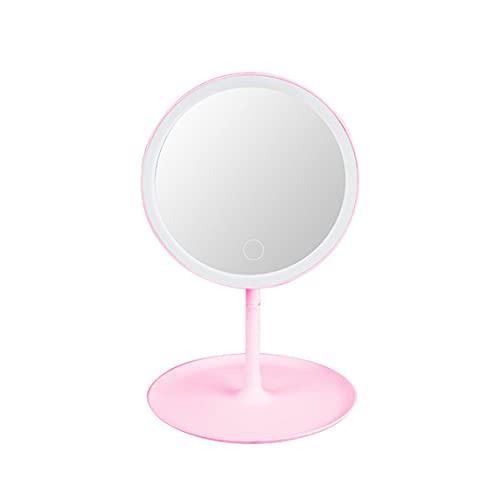 1pc Espejo de Maquillaje de Escritorio Espejo de Pantalla táctil con Brillo LED Bandeja de Almacenamiento de luz de Tres Colores portátil Color Aleatorio - Rosa 8.5X8.5X28.5Cm