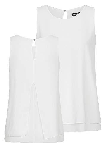 Styleboom Fashion® Damen Shirt Chiffon Top 2-lagig Tropfenschlitz Rundhals Off Weiss, Gr:XXL