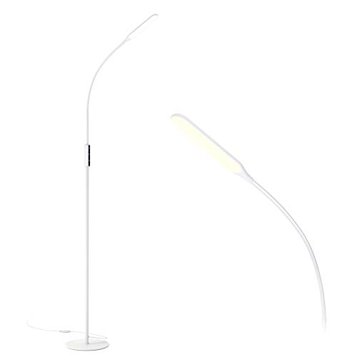 White LED Floor Lamp with 5 Brightness Levels & 3 Colors, Gladle Bright Standing Lamps for Living Room Bedroom Office Crafting Task, Tall Reading Light with Flexible Gooseneck, Works with Smart Plug