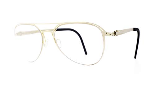 Lunithe Avior MF: Made in France - Independent Artisans - Women - Unisex - Screwless Design - Organic Inspired - Optical Compatible - Aviator Shape - Large - Boxing 56 - 20 (Matte Yellow Gold)