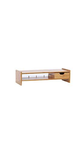 TYZP Estante de madera de bambú para monitor de ordenador, estante de 2 niveles, con cajón para televisión, ordenador portátil, impresora y soporte simple y moderno
