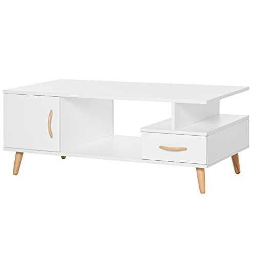 consolle ingresso angolare homcom Tavolino da Salotto Moderno con Anta e Cassetto