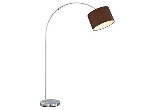 Moderne Bogenleuchte mit Stoffschirm braun Ø 30cm - Nickel matt mit E27 LED - Zeitlose Elegante Standbeleuchtung
