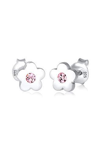 Elli Pendientes para niñas flores con cristal en plata de ley 925