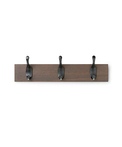 AmazonBasics Wall Mounted Coat Rack, 3 Modern Hooks, Walnut