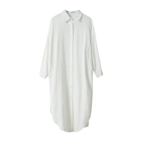 Vestido largo de la camisa de las mujeres de verano blanco vestido de algodón estilo coreano de gran tamaño largo