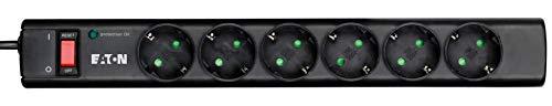 Multipresa a protezione delle sovratensioni - Eaton Protection Strip 6 DIN - PS6D - 6 prese Schuko - Nero