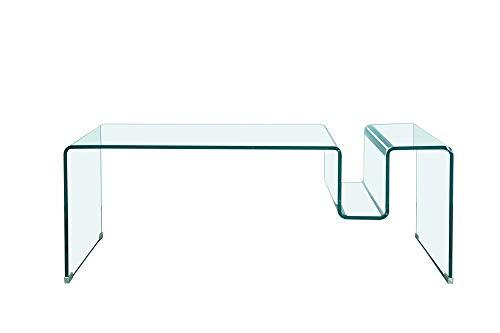 HABITMOBEL Mesa de Centro Baja, Cristal Curvado, 120x60 cms