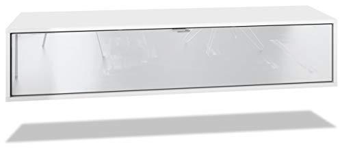 Vladon TV Board Lana 140 Hängeschrank Lowboard 140 x 29 x 37 cm, Korpus in Weiß Matt, Fronten in Weiß Hochglanz | Große Farbauswahl