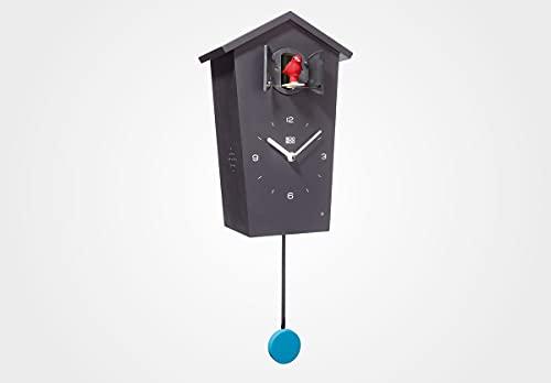 KOOKOO Birdhouse Negro, Reloj cucu Design Moderno, Sonidos de 12 Aves o el Cuco, Reloj pájaros cantores c. péndulo