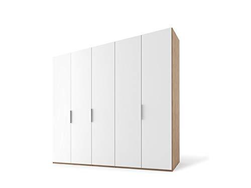 Nolte Möbel PRESTO Drehtürenschrank, Spanplatte, Polarweiß/Polarweiß, Korpus Jackson-Eiche-Nb, 223/250/62 cm