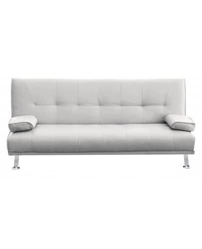 Divano letto Drome JS1095 reclinabile ecopelle 3 posti - casa - ufficio - doppio con cuscini e piedi in metallo (Ecopelle, Bianco)
