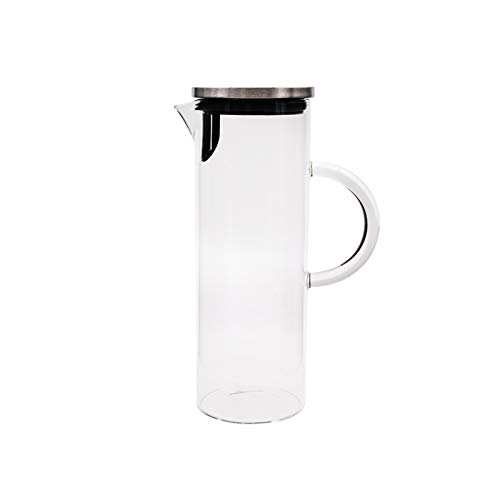 hongbanlemp iced tea pitcher Borosilicate Glass Pitcher With Stainless Steel Filter Cover Transparent Glass Teapot for Homemade Iced Tea and Juice-1800ml Cold Teakettle