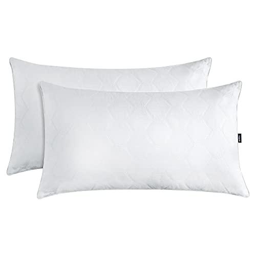 Amazon Brand - Umi Cuscino in Piuma D'Oca Bianca in Confezione da 2, Cuscino Trapuntato Morbido, 50x70cm