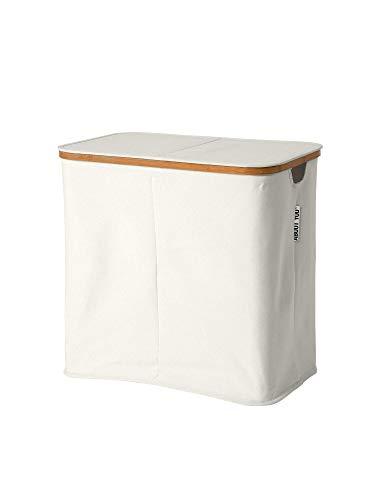 ABOUT YOU Wäschekorb \'Sorter\' mit Zwei getrennten Fächern zum Wäsche Sortieren, Faltbarer und geräumiger Wäschesammler aus Bambus und Canvas Stoff, Korb zur Aufbewahrung (Offwhite)