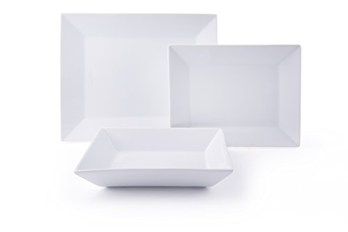 Excelsa Tokyo Servizio Piatti 12 Pezzi, 4 Persone, Porcellana, Bianco, 19 x 20 x 16 cm, unità