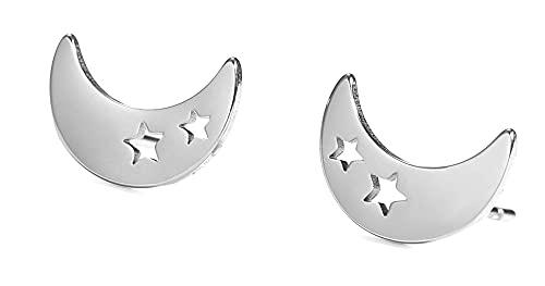 KKJOY Pendientes de luna de estrellas de nube de acero inoxidable para mujeres niñas novia Día de San Valentín