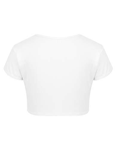 inhzoy Camiseta Manga Corta para Niña Verano Crop Top de Danza Moderna Ropa Deportiva de Gimnasia Fitness Baile Yoga Maillot de Ballet Blanco 10 Años