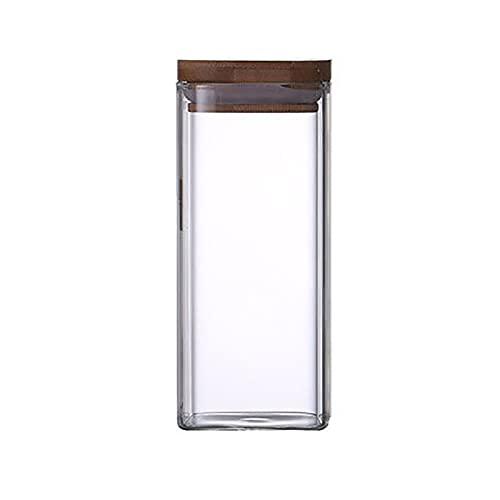 Eervff Frascos De Almacenamiento De Vidrio Cuadrados Latas De Té De Vidrio Transparente De Alto Borosilicato Latas De Té Selladas Tapas De Bambú