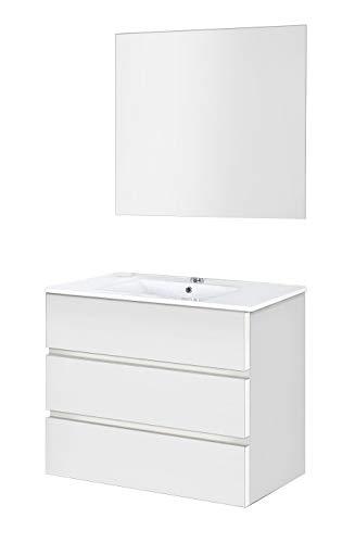 Baikal 830134035 Conjunto de Muebles de Baño con Lavabo y Espejo Luna Lisa, Suspendido a la Pared, Tres Cajones, Melamina 16mm, Acabado en Color Blanco Mate, 90 X 76 X 46 cm