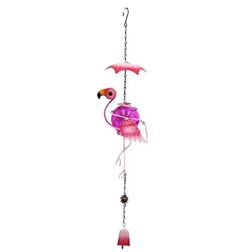 NiceCore Hanging Wind Bells Waterproof Glass Crackle Globe Wind Chime Garden Bird Ornament Pink Garden Décor