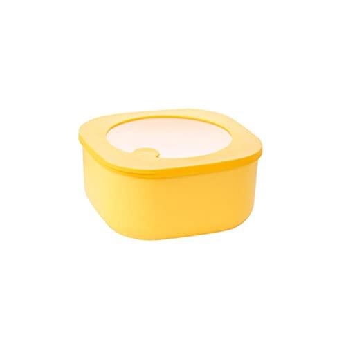 CHENCfanh Fiambrera Contenedor de Almacenamiento Plegable con Tapas, congelador de microondas de Cocina y lavavajillas, Disponible en Cuatro Colores (Color : Yellow)